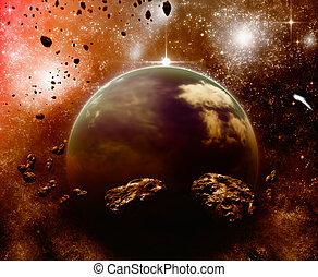 Planet in space, asteroid field