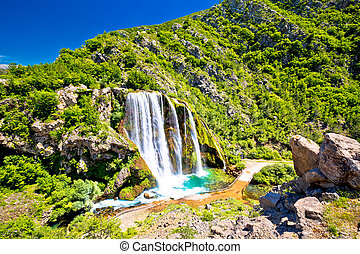 Krcic waterfall in Knin scenic view, Dalmatian inland,...