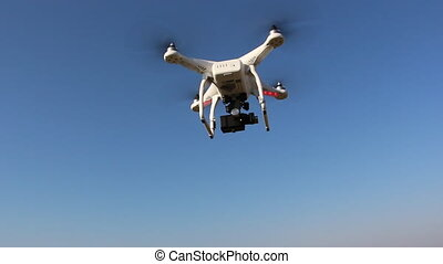 Drone with camera remotely controlled - Shot of Drone with...