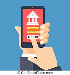 Mobile banking app on smartphone screen. Financial app,...