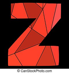 Z red alphabet vector letter isolated on black background