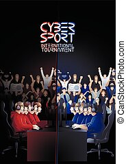 Cyber sport team - Two teams of five players sitting at the...