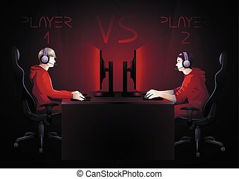 Cyber sport team - Two computer players sitting at the table...