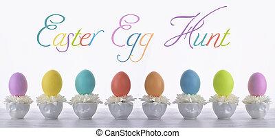 Easter egg hunt card - Colorful vibrant Easter egg hunt card...