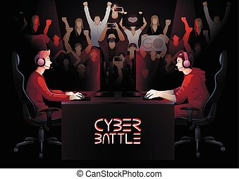 Cyber sport team - Two game players sitting at the table...