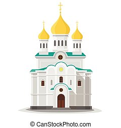 Orthodox church isolated. City architecture object. Vector...