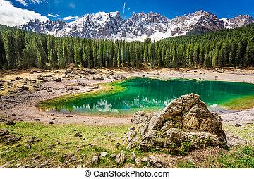 Stunning view to mountain Carezza lake in Dolomites, Italy,...