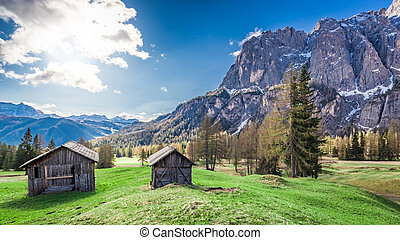 Beautiful small mountain hut in the dolomites, Italy, Europe