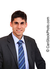 Smiling handsome businessman Isolated over white background...