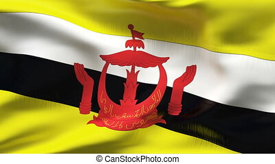 Creased BRUNEI flag in wind - Highly detiled flag with...