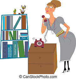 secretary in an office answering the phone