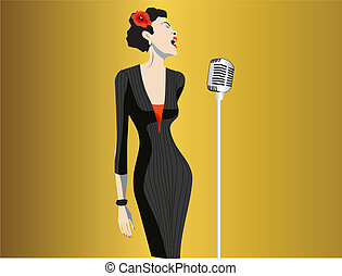 woman singing - woman singer with a microphone on a stage