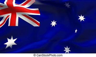 Creased AUSTRALIA flag in wind