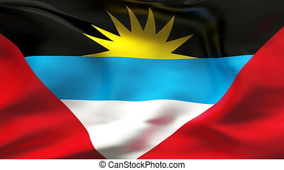 Creased ANTIGUA flag in wind - Highly detiled flag with...