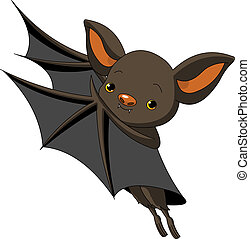 Halloween bat presenting - Cute Cartoon Halloween bat...