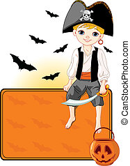 Little Halloween Pirate place card - Illustration for...