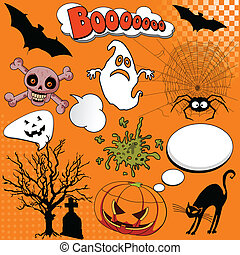 Halloween Comic elements - Illustration of Halloween Comic...