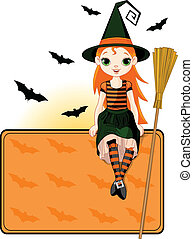 Little Halloween Witch place card - Illustration for...