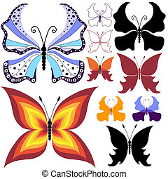 Collection abstract butterflies