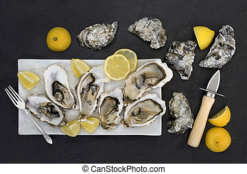 Fresh Oysters Aphrodisiac Food - Oysters on crushed ice with...