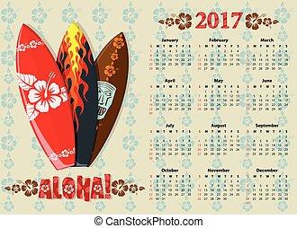 Vector Aloha calendar 2017 with surf boards