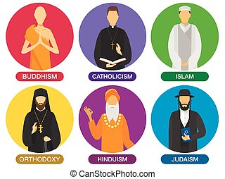 Religion ministers icons.