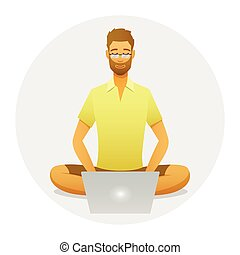 Relaxing man at work with a yoga pose style