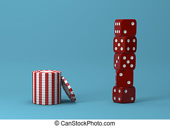 Casino theme. white with red playing chips with plastic dices on blue background, 3d illustration