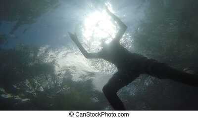 Man swimming in the sea above the camera - Underwater...