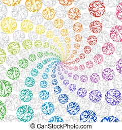 Abstract Rainbow Background Rotating Spiral of Spheres....