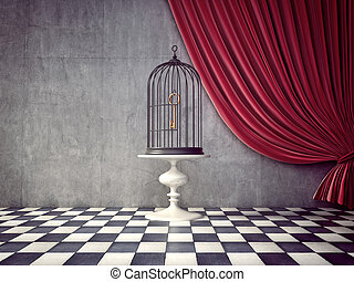 cage - black cage in the room. 3d illustration