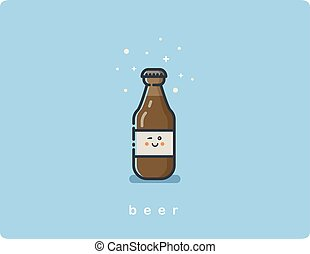 Vector flat icon friendly beer bottle character