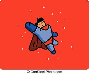 Vector illustration of super hero cartoon character
