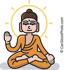 Vector illustration of Buddha sitting in the lotus position.