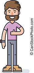 Vector bearded man character shows a sign Thumb Up!