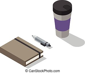 Vector isometric illustration of notebook with coffee thermos