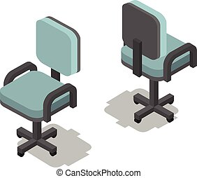 Vector isometric illustration of office chair, 3d flat furniture icon