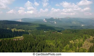 Aerial panoramic mountains landscape, beautiful summer...