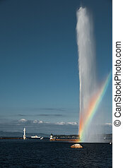 Rainbow At Geneva Jet D'eau Water Fountain