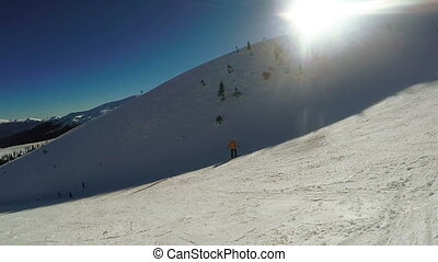 Man Descent on skis from the snow mountains