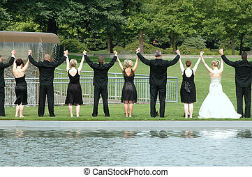 Wedding party. - Wedding party at a local park.
