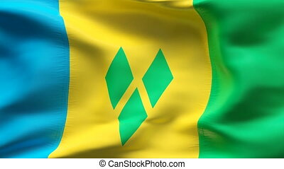 Creased SAINT VINCENT flag in wind - Highly detiled flag...
