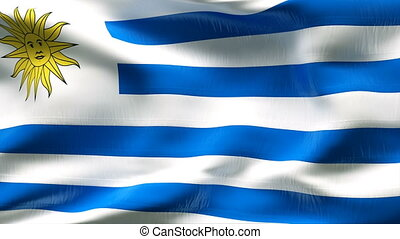 Creased URUGUAY flag in wind - Highly detiled flag with...