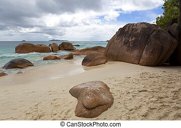 Tropical beach view at Anse Lazio, Seychelles