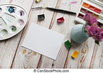 artista, vaso, acquarello, Mazzolino, rose,  s, carta, fondo,  workspace, legno, spazzola, penna, bianco