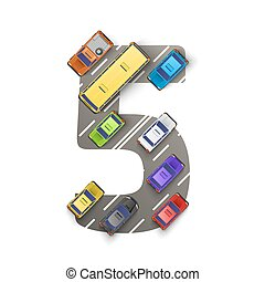 Road with cars in the form of number five. Vector illustration
