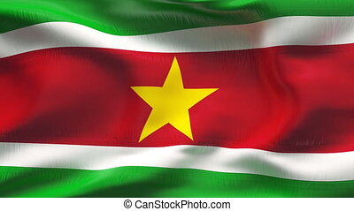 Creased SURINAM flag in wind - Highly detiled flag with...