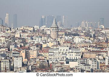 Galata Tower in Istanbul City - Galata Tower in Beyoglu,...