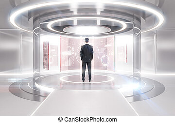Teleport with financial panels - Thoughtful businessman in...