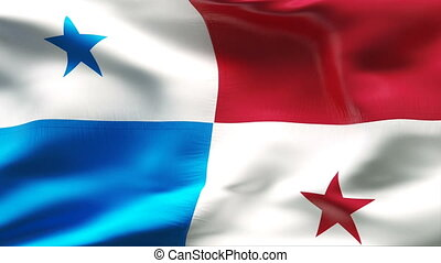 Creased PANAMA flag in wind - Highly detiled flag with...